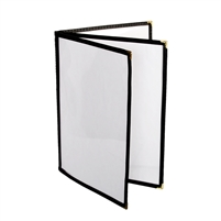 "Thunder Group Menu Cover - 3 Pocket Book Fold, 8-1/2"" x 11"", Black Trim (PLMENU-L3BL)"