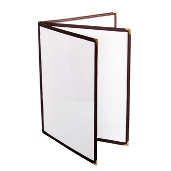 "Thunder Group Menu Cover - 3 Pocket Book Fold, 8-1/2"" x 11"", Brown (PLMENU-L3BR)"