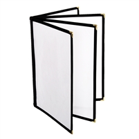 "Thunder Group Menu Cover - 4 Pocket Book Fold, 8-1/2"" x 11"", Black Trim (PLMENU-L4BL)"