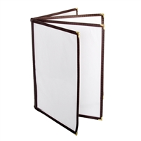 "Thunder Group Menu Cover - 4 Pocket Book Fold, 8-1/2"" x 11"", Brown (PLMENU-L4BR)"
