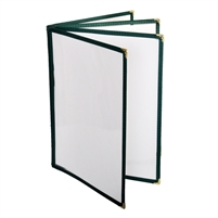 "Thunder Group Menu Cover - 4 Pocket Book Fold, 8-1/2"" x 11"", Green (PLMENU-L4GR)"