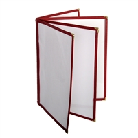 "Thunder Group Menu Cover - 4 Pocket Book Fold, 8-1/2"" x 11"", Maroon Trim (PLMENU-L4MA)"