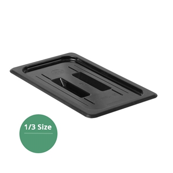 Thunder Group Black Polycarbonate Food Pan Cover, Third Size, Solid, (PLPA7130CBK)