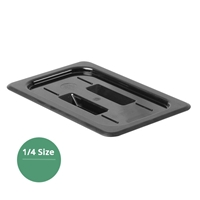Thunder Group Black Polycarbonate Food Pan Cover, Quarter Size, Solid, (PLPA7140CBK)