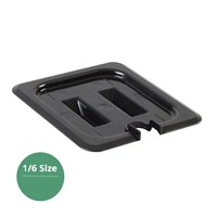 Thunder Group Black Polycarbonate Food Pan Cover, Sixth Size, Slotted, (PLPA7160CSBK)