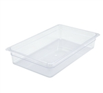 "Clear Polycarbonate Food Pan NSF Rated - Full Size, 4"" Deep"