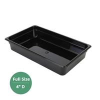 "Thunder Group Black Polycarbonate Food Pan - Full Size, 4"" Deep (PLPA8004BK)"