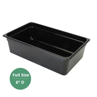"Thunder Group Black Polycarbonate Food Pan - Full Size, 6"" Deep (PLPA8006BK)"