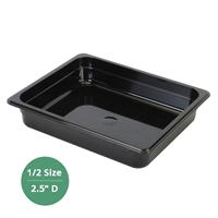 "Thunder Group Black Polycarbonate Food Pan - Half Size, 2.5"" Deep (PLPA8122BK)"