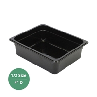"Thunder Group Black Polycarbonate Food Pan - Half Size, 4"" Deep (PLPA8124BK)"