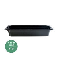 "Thunder Group Black Polycarbonate Food Pan - Half Size Long, 4"" Deep (PLPA8124LBK)"