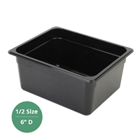 "Thunder Group Black Polycarbonate Food Pan - Half Size, 6"" Deep (PLPA8124BK)"