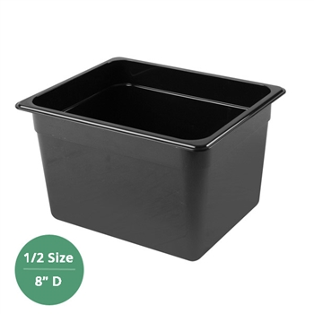 "Thunder Group Black Polycarbonate Food Pan - Half Size, 8"" Deep (PLPA8128BK)"