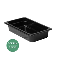 "Thunder Group Black Polycarbonate Food Pan - Third Size, 2.5"" Deep (PLPA8132BK)"