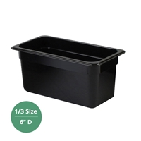 "Thunder Group Black Polycarbonate Food Pan - Third Size, 6"" Deep (PLPA8136BK)"