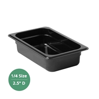"Thunder Group Black Polycarbonate Food Pan - Quarter Size, 2.5"" Deep (PLPA8142BK)"