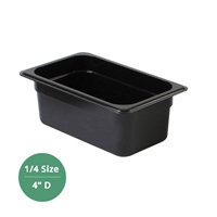 "Thunder Group Black Polycarbonate Food Pan - Quarter Size, 4"" Deep (PLPA8144BK)"