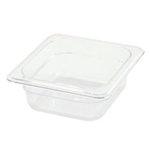 "Thunder Group Clear Polycarbonate Pan - 1/6 Size, 2.5"" Deep (PLPA8162)"