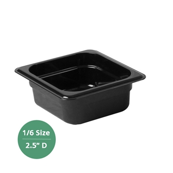 "Thunder Group Black Polycarbonate Food Pan - Sixth Size, 2.5"" Deep (PLPA8162BK)"