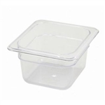 "Thunder Group Clear Polycarbonate Pan - 1/6 Size, 4"" Deep (PLPA8164)"
