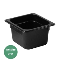 "Thunder Group Black Polycarbonate Food Pan - Sixth Size, 4"" Deep (PLPA8164BK)"