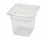 "Thunder Group Clear Polycarbonate Pan - 1/6 Size, 6"" Deep (PLPA8166)"