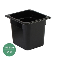 "Thunder Group Black Polycarbonate Food Pan - Sixth Size, 6"" Deep (PLPA8166BK)"