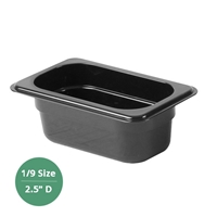 "Thunder Group Black Polycarbonate Food Pan - Ninth Size, 2.5"" Deep (PLPA8192BK)"