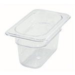 "Thunder Group Clear Polycarbonate Pan - 1/9 Size, 4"" Deep (PLPA8194)"