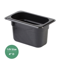 "Thunder Group Black Polycarbonate Food Pan - Ninth Size, 4"" Deep (PLPA8194BK)"