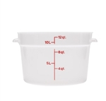 Winco Round Food Storage Container - 12 Qt., White