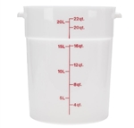 Winco Round Food Storage Container - 22 Qt., White