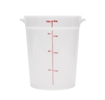Winco Round Food Storage Container - 8 Qt., White