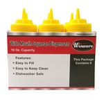 Winco Wide Mouth Squeeze Bottle - Yellow - 16 Oz., 6 Pc/Pack, (PSW-16Y)