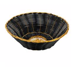 Winco Poly Woven Basket - Black/Gold - Round Cracker, (PWBK-8R)
