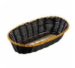 Winco Poly Woven Basket - Black/Gold - Oblong Cracker , (PWBK-9B)