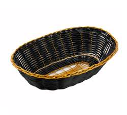 Winco Poly Woven Basket - Black/Gold - Oval Cracker, (PWBK-9V)