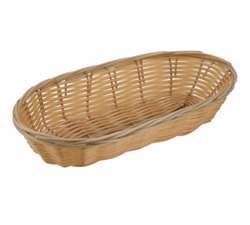 "Winco Poly Woven Basket - Natural - Oblong Cracker - 9"" X 6"" X 2.5"" , (PWBN-9B)"