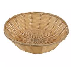 "Winco Poly Woven Basket - Natural - Round Cracker - 9"" X 2.5"", (PWBN-9R)"
