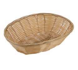 "Winco Poly Woven Basket - Natural - Oval Cracker - 9.5"" X 6.25"" X 3"", (PWBN-9V)"