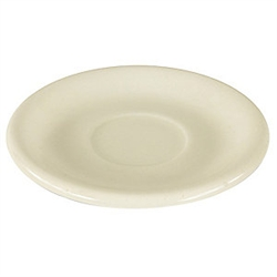 "Saucer, 6"", wide rim, ceramic, Dover White"
