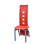USED - Dining Chair - Metal Frame with Red Leather and High Back