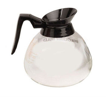 Glass 64 Oz. Glass Coffee Decanter with Black Pour Spout and Black Handle made by Bloomfield - (24) Pack