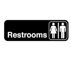 "Royal Industries ""Restrooms"" Sign - 3"" X 9"", (ROY 394517)"