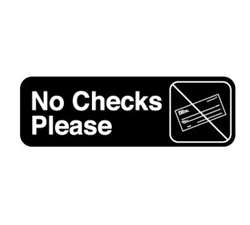 "Royal Industries ""No Checks Please"" Sign, (ROY 394520)"