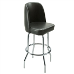 Bar Stool Black Vinyl Upholstered Swivel Bucket Seat with Chrome Plated Single Foot Ring Frame - (Roy 7721 B) - Set of 2 Stools