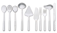 10-Piece Stainless Steel Utensil Set for Buffet Service with Mirror Finishes and Hollow Handles