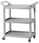 Bus Cart Plastic 3-Shelf 130 lb Capacity - Gray