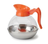 Polycarbonate Plastic 64 Oz. Coffee Decanter with Orange Pour Spout and Handle and Stainless Steel Base