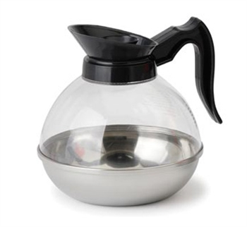 Polycarbonate Plastic 64 Oz. Coffee Decanter with Black Pour Spout and Handle and Stainless Steel Base - (12) Pack